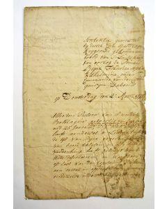 Vonnis van een krijgsraad ter zee aan boord van een Nederlands oorlogsschip. Handgeschreven document, 1775