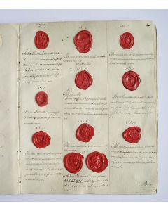 Collectie lakafdrukken van cameeën, intaglio's en gemmen, oorspronkelijk deel uitmakend van de verzameling van Pieter van Damme ('Nederlands eerste antiquaar', 1727-1806), verzameld en beschreven door J. Koning, ca. 1807.