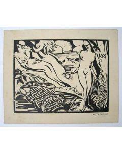 Matthieu Wiegman, Adam en Eva, houtsnede, 1926