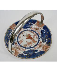 Gebaksschaal, Chinees Imari met zilveren montuur