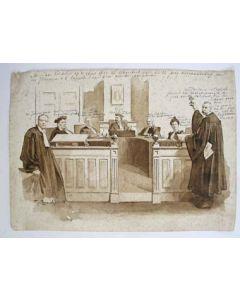 Johan Braakensiek, sepiatekening ter gelegenheid van het 25-jarig jubileum als advocaat van Mr. Jan Kappeyne van de Coppello, 1901