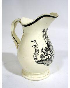 Creamware kan met de voorstelling van de Nederlandse Maagd, 18e eeuw