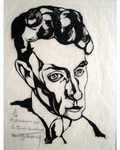 Valentijn van Uytvanck, portret van Hendrik Marsman, 1925, houtsnede