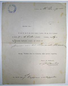 Aanstellingsbrief van J. Kappeyne van de Coppello tot praeses van het Leidsch Studenten Corps, 1875