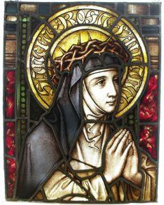 Religieus glas-in-lood raam, de heilige Rosa van Lima