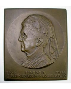 Bronzen plaquette, Koningin Emma, 1934