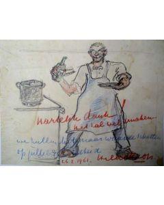Hildo Krop, zelfportret, krijttekening