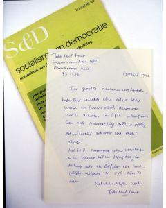 Joke Smit, handgeschreven brief aan Haya van Someren-Downer, 1972.