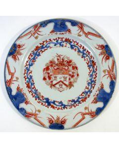 Chine de commande bord met familiewapen Van Gellicum, ca. 1720-30