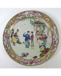 Mandarijn famille rose porseleinen bord, 18e eeuw