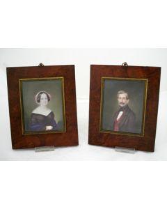 J.R. Schwager, portretminiaturen van een echtpaar, 1849