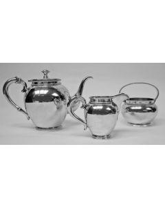 Zilveren theeservies, model parelrand