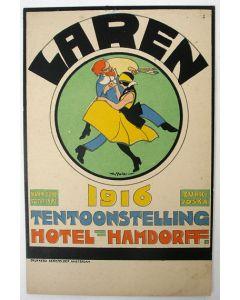 Willy Sluiter, Hamdorff Laren 1919, lithografische prentbriefkaart,