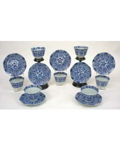 Chinees porseleinen theekommen en schoteltjes, JiaQing periode