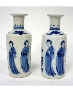 Stel Chinees porseleinen vaasjes, Kangxi periode, ca. 1700