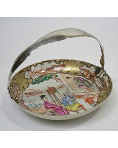 Bonbonschaaltje, mandarijndecor, met zilveren montuur