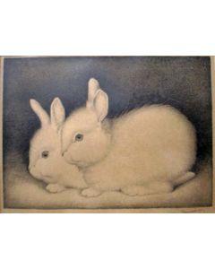 Jan Wittenberg, twee konijntjes, litho