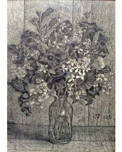 Jaap Nieweg, bloemstilleven, litho