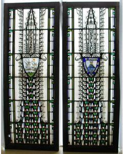 Glas-in-lood ramen door Bogtman voor het gebouw van de Hollandsche Lloyd, 1920