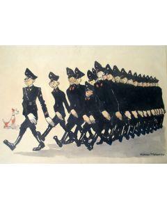 Herman Moerkerk, W.A. marcheert, aquarel