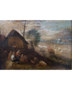 Vlaamse School, Boeren in een landschap, 17e eeuw