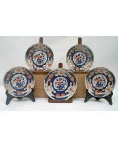 Serie van 5 Chinees Imari borden, 18e eeuw