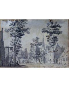 Sepiatekening, dorpsgezicht Hilversum, 18e eeuw