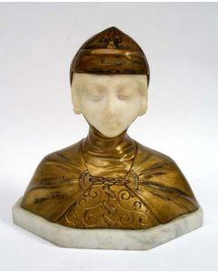 Bronzen en albasten beeld, meisjesfiguur, G. van Vaerenbergh
