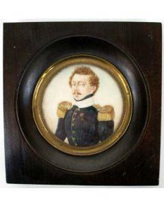 Portretminiatuur van een Nederlandse officier, door Samuel Baruch Benavente, 1832