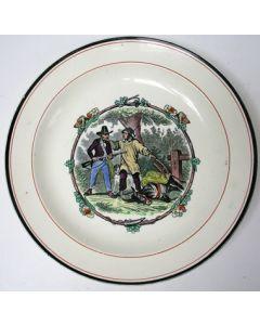 Aardewerk bord, De bijziende jager, Petrus Regout, ca. 1870