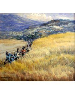 Soewardja, rijstplukkers, aquarel.
