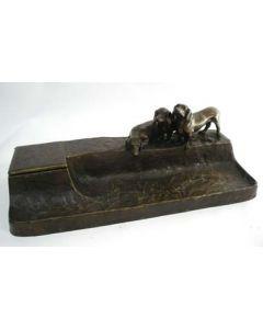 Bronzen inktstel, gesigneerd F. Gornik