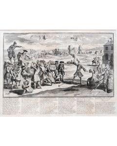 Kopergravure, Uytslag der Wind Negotie (Uit 'Het Groote Tafereel der Dwaasheid'-1720)