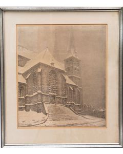 Co Breman, 'De Bergkerk te Deventer', litho, 1938