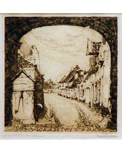 Anton Pieck, 'Straatje in Amersfoort', ets