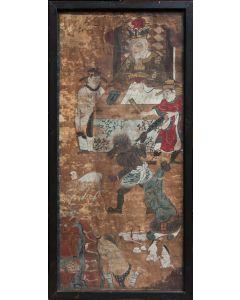 Rolschildering met de voorstelling van een hellekoning, Korea, 18e/19e eeuw