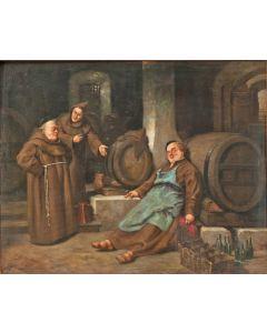 F. Bruchtraupp, 'Monniken in een wijnkelder', olieverf, 1873