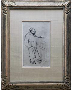 Bob ten Hoope, 'Zelfportret met schilderij', ets, 1992
