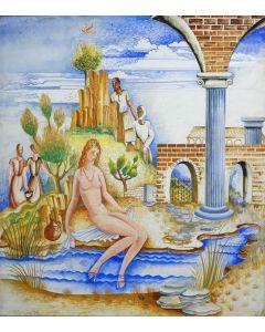 Hubert Levigne, 'De kuise Susanna', gouache, 1938
