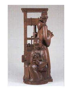 Albert Poels, 'Labore et Constantia - allegorie op de boekdrukkunst', houten sculptuur, 1947