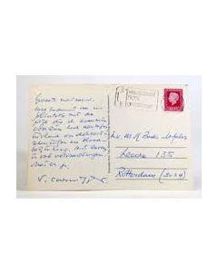 Simon Carmiggelt, handgeschreven prentbriefkaart, 1977