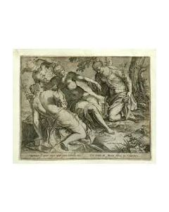 Agostino Carracci, Mercurius en de Drie Gratiën, kopergravure, 1589