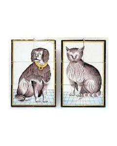 Tegeltableaus, kat en hond, ca. 1800