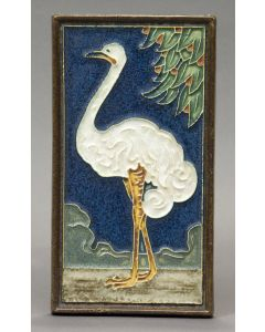 Cloisonné tegel met struisvogel, De Porceleyne Fles, ca. 1930