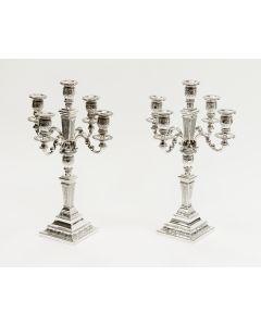 Zilveren vijfarms kandelabers in Lodewijk XVI stijl