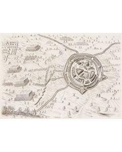 Gravure, Verovering van Oldenzaal door Prins Maurits, 1597