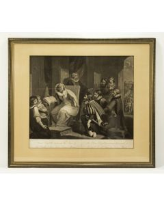 'Queen Elizabeth Receiving the News of the Death of her Sister Queen Mary' ets, ca. 1810