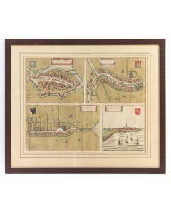 Handgekleurde kaart van de steden Sloten, IJlst, Workum en Hindelopen, door J. Blaeu, 1649