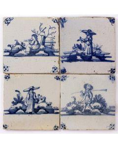 Vierpas van herdertegels, 18e eeuw