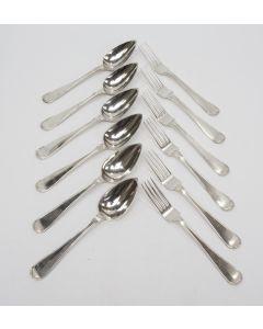 6 zilveren tafelcouverts, dubbelfilet, 1894